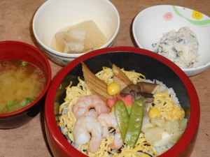 11月30日 海老と穴子の吹き寄せ蒸し寿司.JPG