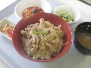 7月23日夕食豚肉の生姜焼き丼.jpg